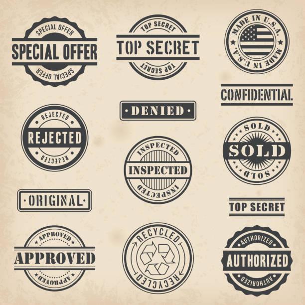 Commercial Stamps Set vector art illustration