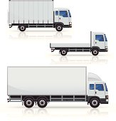 Generic commerical truck icons. Includes box truck, curtain side truck and dropside truck. Layered and grouped for ease of use. Download includes EPS file and hi-res jpeg.