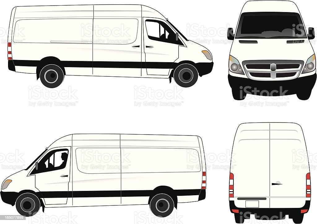 Commercial Van - Four Views royalty-free stock vector art