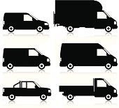 Silhouetted, generic, commerical van icons. Layered and grouped for ease of use. Download includes EPS8 file and hi-res jpeg.