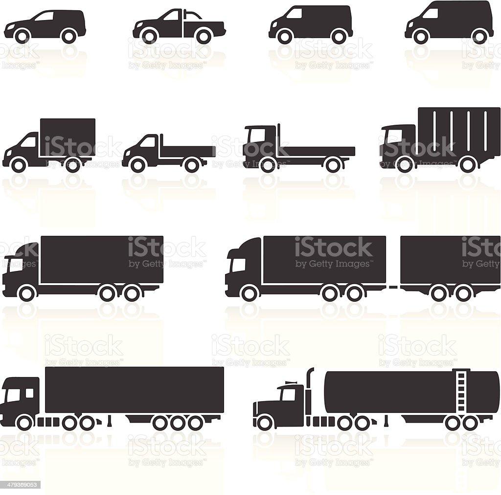 Commercial Vehicle Icons Commercial Vehicle Icons. Layered & grouped for ease of use. Download includes EPS 8, EPS 10 and high resolution JPEG & PNG files. Black And White stock vector