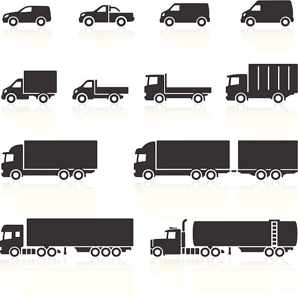 Commercial Vehicle Icons vector art illustration