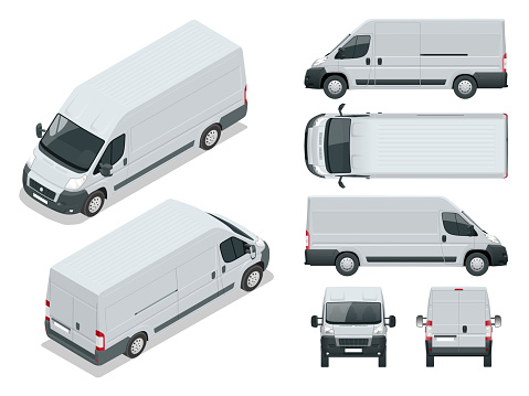 Commercial vehicle. Logistic car. Cargo minivan isolated on white background. Front, rear, side, top and isometry front and back Change the color in one click All elements in groups on separate layers