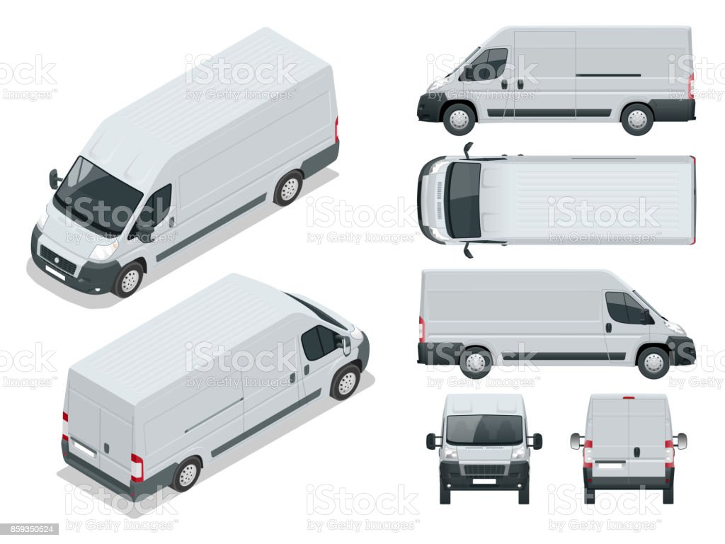 Commercial vehicle. Logistic car. Cargo minivan isolated on white background. Front, rear, side, top and isometry front and back Change the color in one click All elements in groups on separate layers vector art illustration