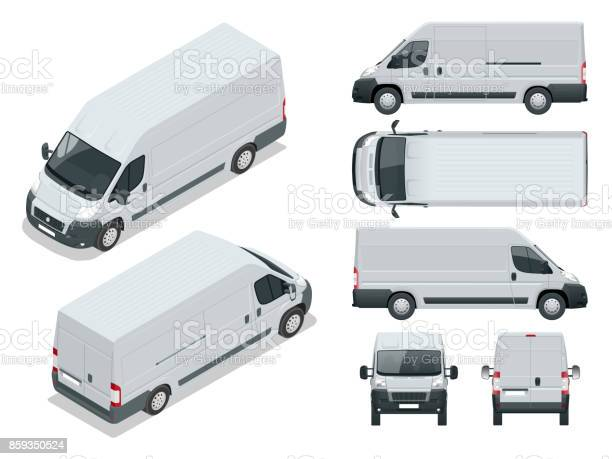 Commercial vehicle Logistic car Cargo minivan isolated on white background. Front, rear, side, top and isometry front and back Change the color in one click All elements in groups on separate layers