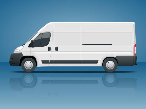 nutzfahrzeug oder logistik auto. fracht-minivan isoliert auf blauem hintergrund seitenansicht ändern die farbe in einem klicken sie auf alle elemente in gruppen auf separaten layern - vans stock-grafiken, -clipart, -cartoons und -symbole