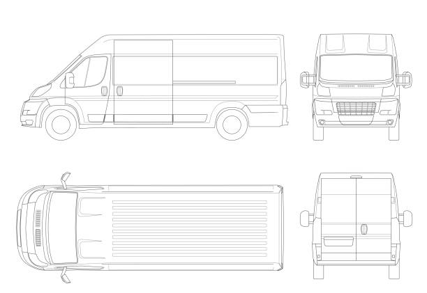 Commercial vehicle or Logistic car outline. Cargo minivan isolated on white background. View front, rear, side, top. All elements in groups on separate layers Commercial vehicle or Logistic car in lines. Cargo minivan isolated on white background. View front, rear, side, top. All elements in groups on separate layers. mini van stock illustrations