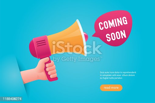 Comming soon concept. Hand holding a megaphone. Cartoon vector illustration