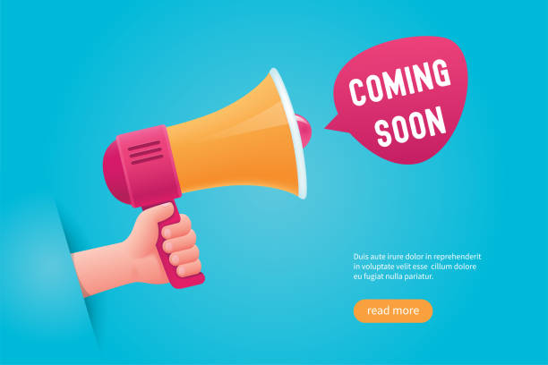 Comming soon concept Comming soon concept. Hand holding a megaphone. Cartoon vector illustration update communication stock illustrations