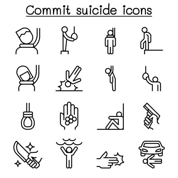 Commit suicide icon set in thin line style Commit suicide icon set in thin line style suicide stock illustrations
