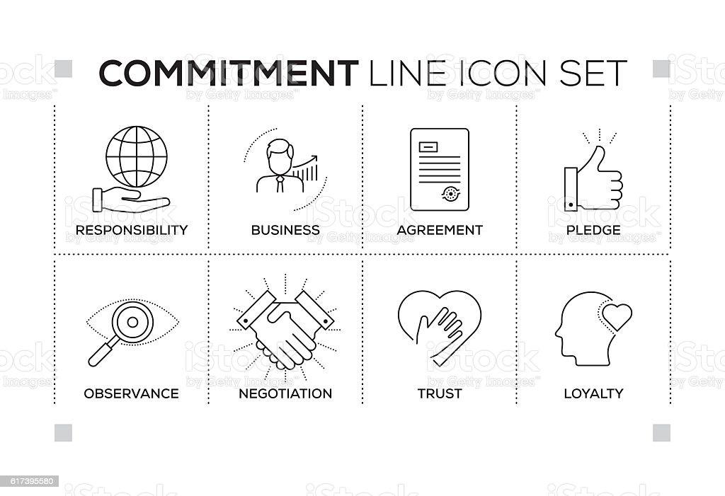 Commitment keywords with monochrome line icons vector art illustration