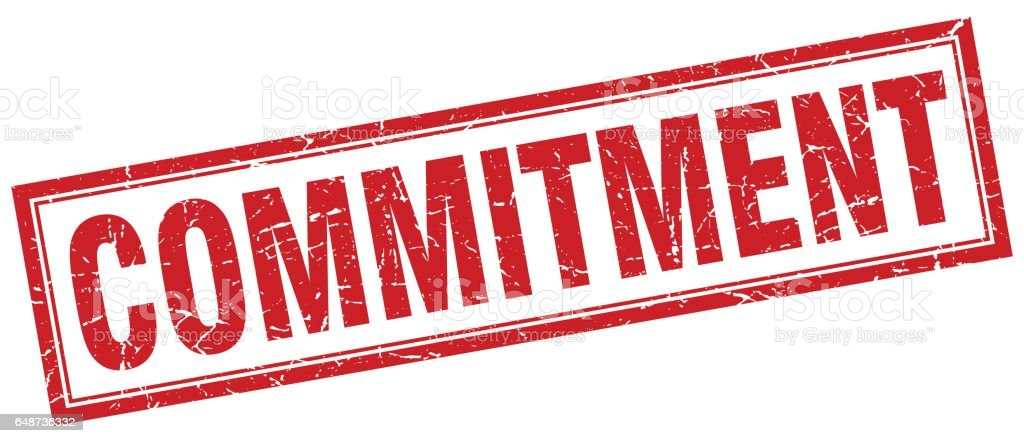 commitment square stamp vector art illustration