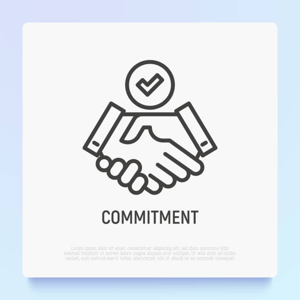 stockillustraties, clipart, cartoons en iconen met toezeggings thin line-pictogram: handshake met tick. moderne vector illustratie. - shaking hands