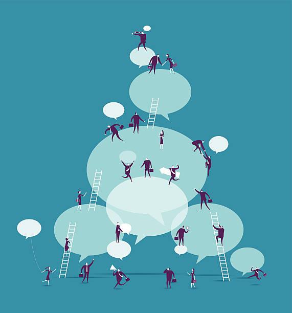 ilustraciones, imágenes clip art, dibujos animados e iconos de stock de commnunication - reunión evento social