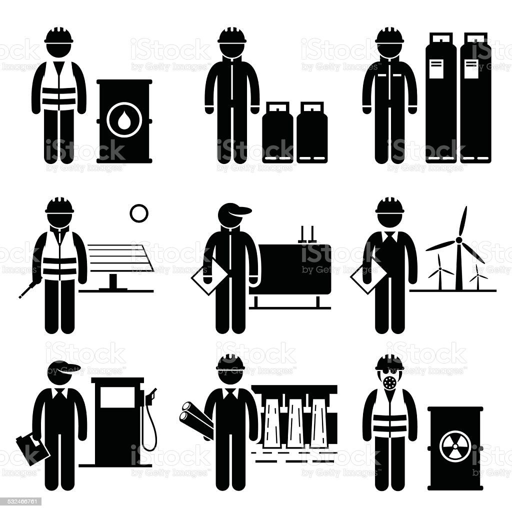 Commodities Energy Fuel Power Icons vector art illustration