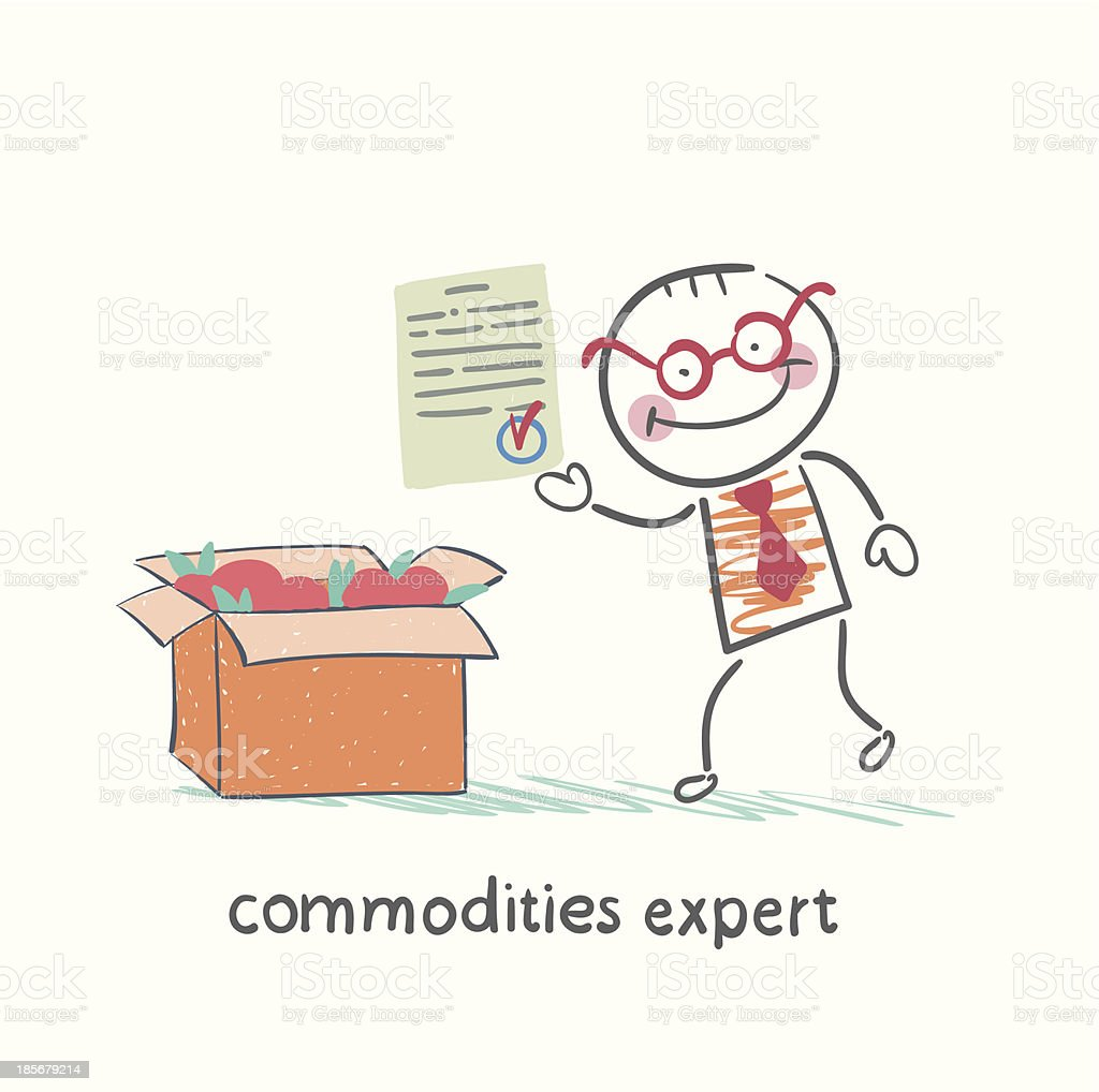 commodities expert stands next to a box royalty-free stock vector art