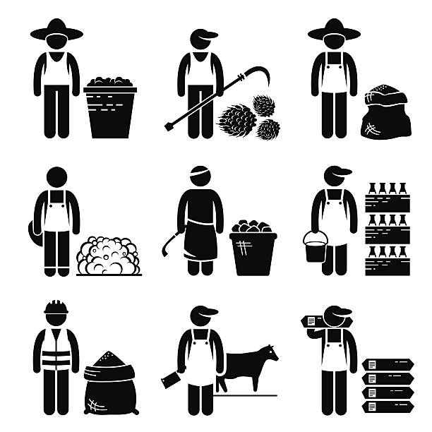 Commodities Food Agricultural Grains Meat Icons vector art illustration