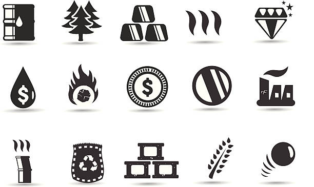 Commodity Icons and Symbols vector art illustration