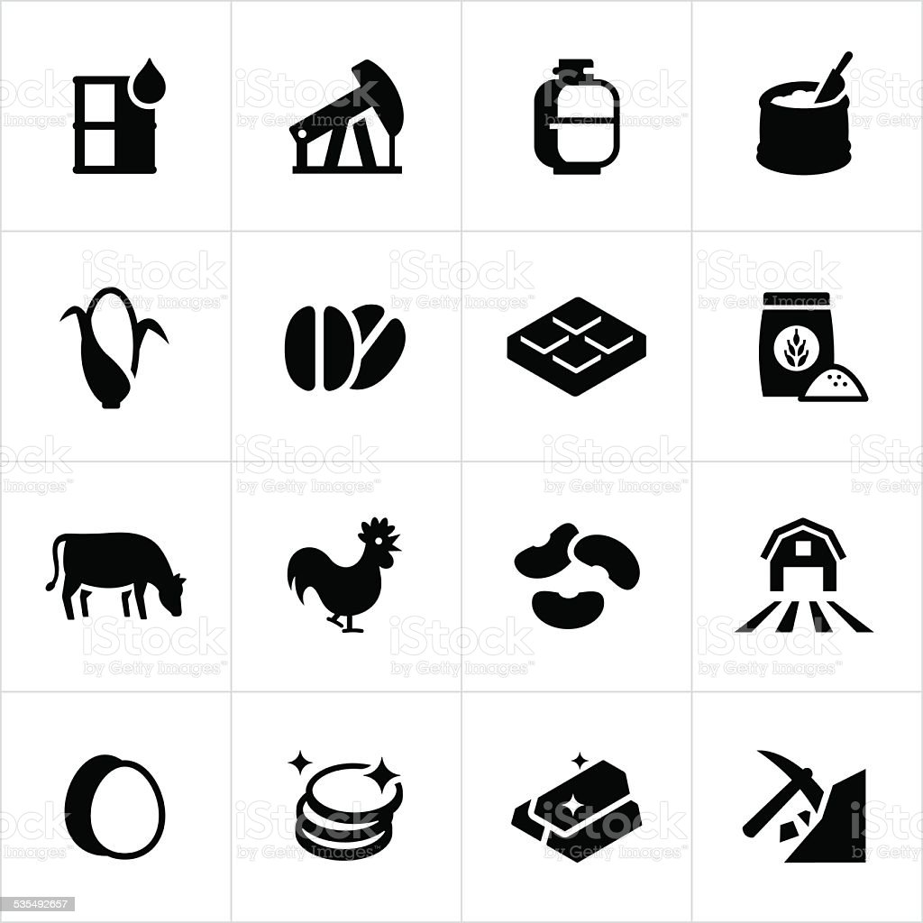 Commodity Market Icons vector art illustration