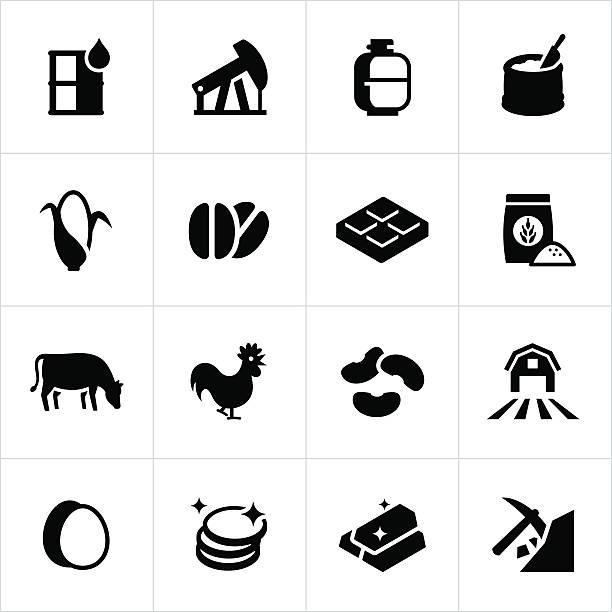 Commodity Market Icons vector art illustration