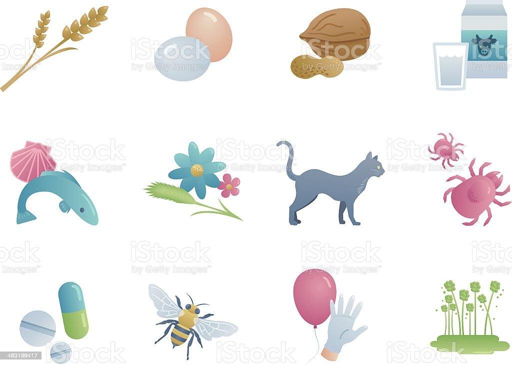 Common allergies vector art illustration