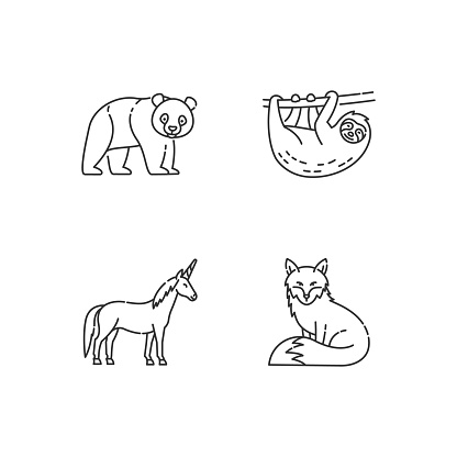 Common and fantasy animals pixel perfect linear icons set