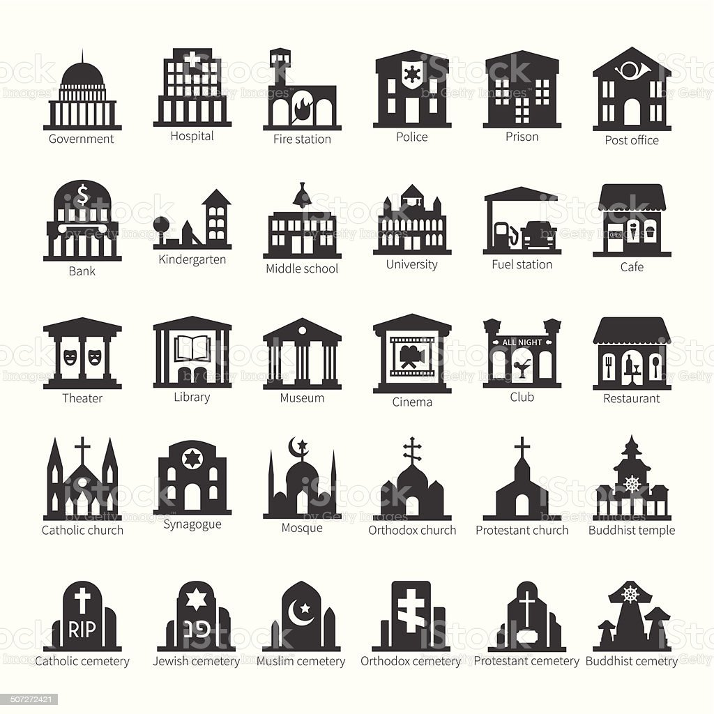 Common buildings and places vector icon set vector art illustration