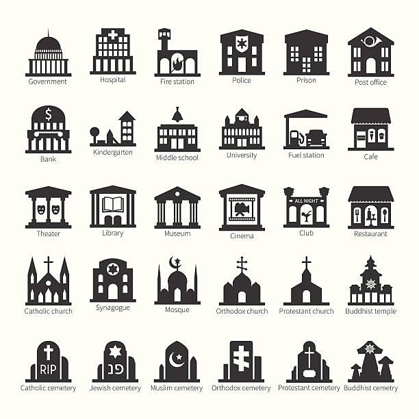 bildbanksillustrationer, clip art samt tecknat material och ikoner med common buildings and places vector icon set - förskolebyggnad