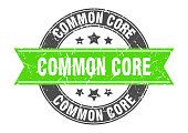 common core round stamp with ribbon. sign. label