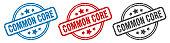 common core stamp. common core round isolated sign. common core label set