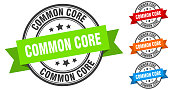 common core stamp. round band sign set. ribbon label