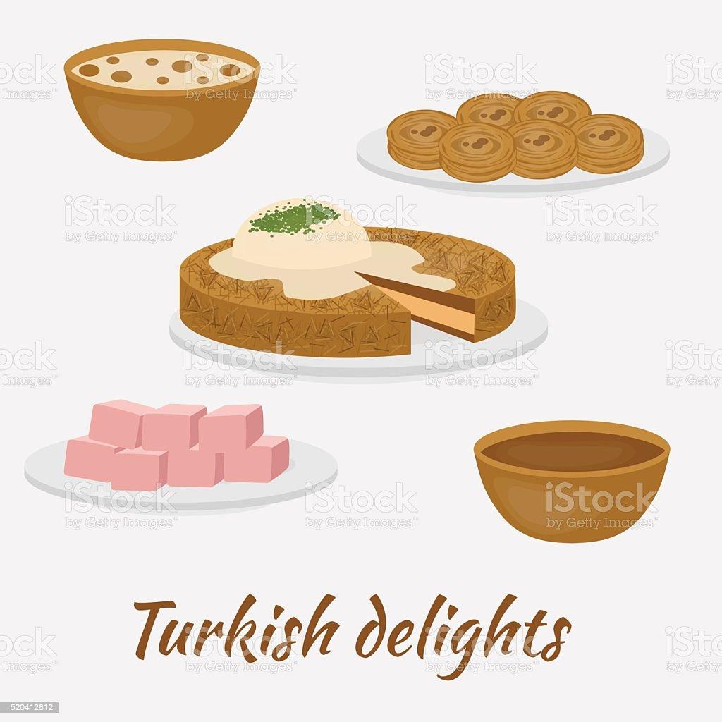 Common desserts. Turkish delights.Traditional food of Turkish cuisine. vector art illustration