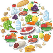Common everyday food products background. Cheese and fish, sausagesand milk, tomatoes vector  illustration
