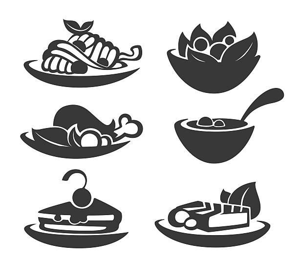 gemeinsamen essen und täglichen mahlzeiten - lachskuchen stock-grafiken, -clipart, -cartoons und -symbole