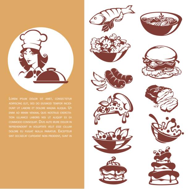 common food, beautiful chef and meal collection common food, beautiful chef and meal collection , fish, meat, soup, salad, dessert, for your menu female sandwich stock illustrations