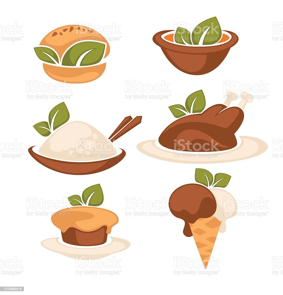 common food, decorated green leaves vector art illustration