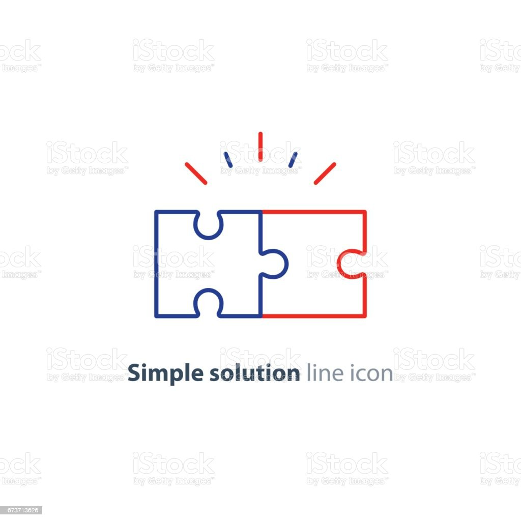 Common ground concept, puzzle parts together, cooperation vector art illustration