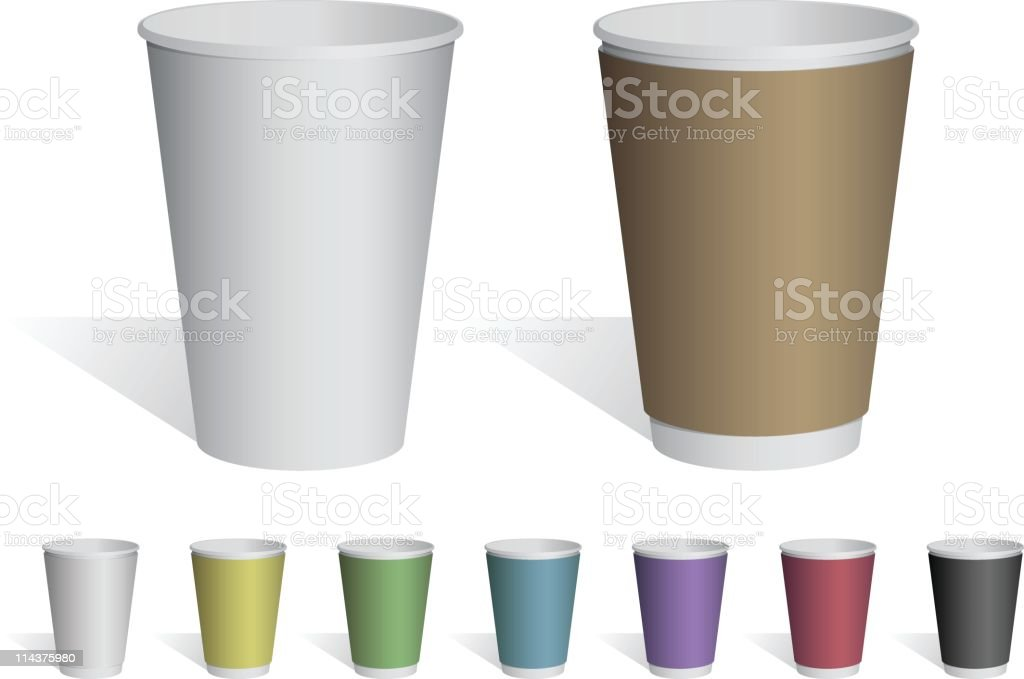 Common, Hot and Cold Paper Cups vector art illustration