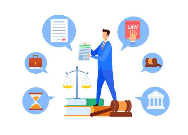 professor für ordentliche rechtskunden, lehrer vector charakter - rechtsassistent stock-grafiken, -clipart, -cartoons und -symbole