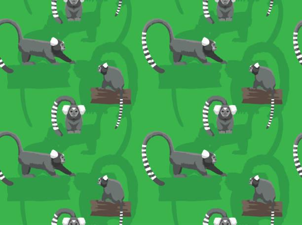 Common Marmoset Cartoon Seamless Wallpaper Animal Wallpaper EPS10 File Format common marmoset stock illustrations