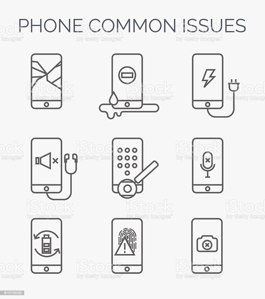 Common phone issues line icons. vector art illustration
