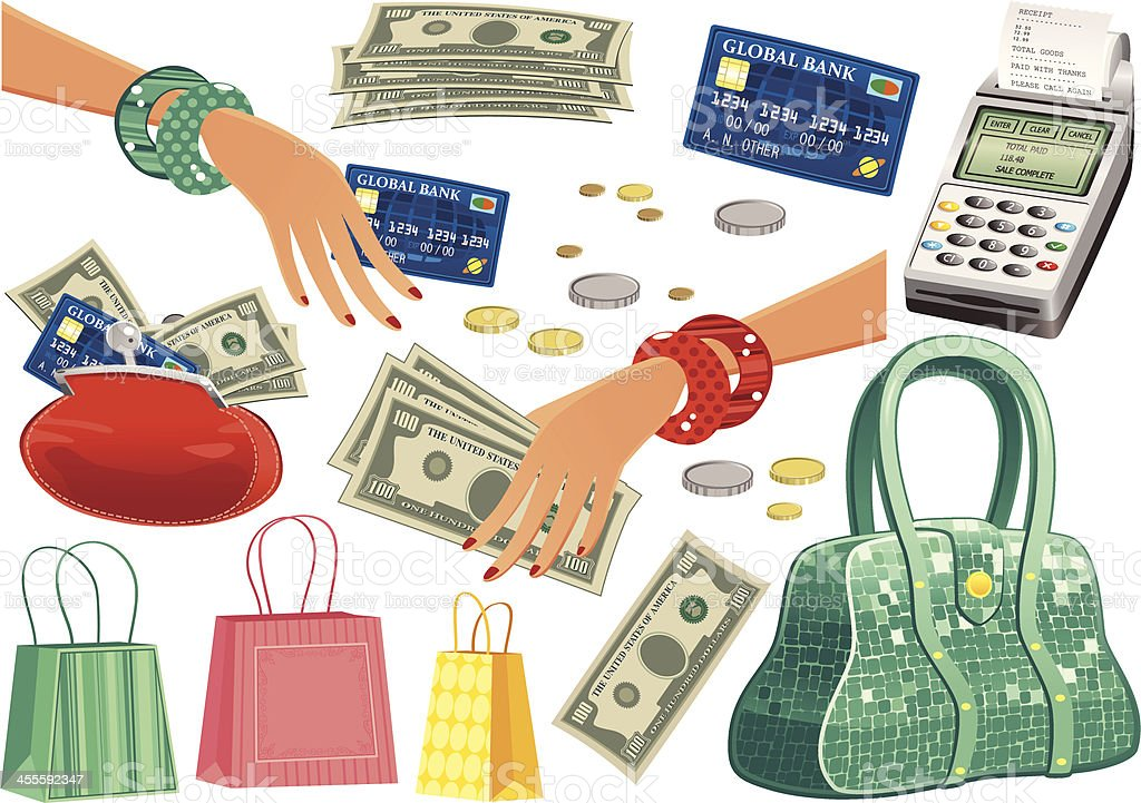 Common shopping trip items vector art illustration