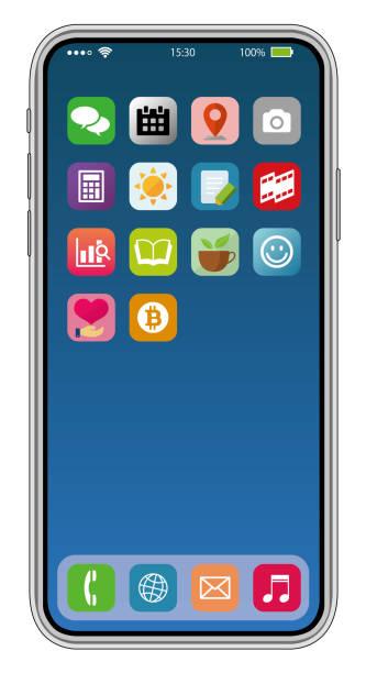 Common smart phone display illustration (original app icons image ) vector art illustration