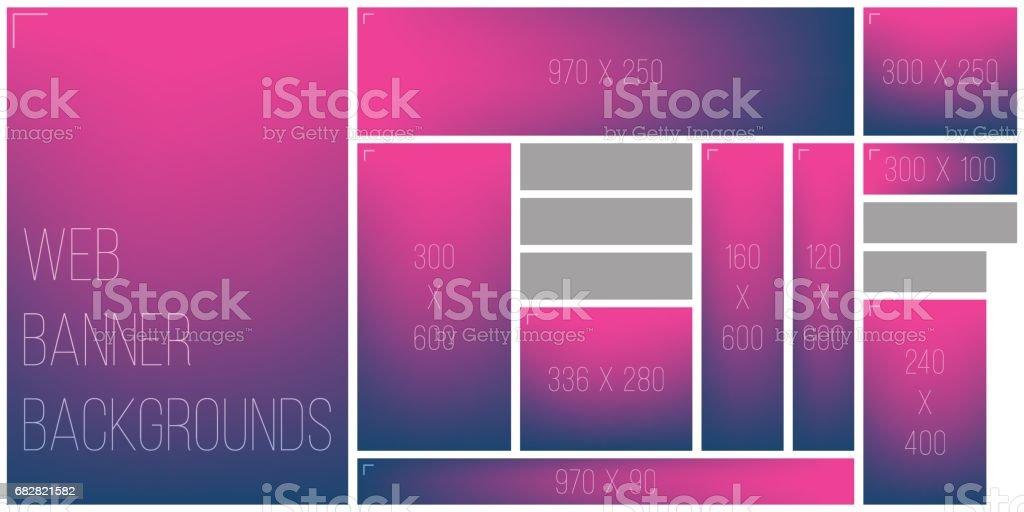 Gemeinsame Web-Banner Größe Mischung Hintergrund Farbpalette Lizenzfreies gemeinsame webbanner größe mischung hintergrund farbpalette stock vektor art und mehr bilder von abstrakt