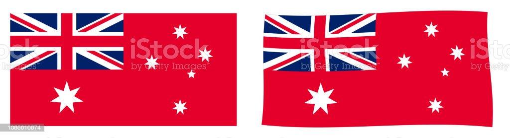 Variante de bandeira civil da Comunidade da Austrália (Australian Red Ensign). Versão simples e agitando ligeiramente. - ilustração de arte em vetor