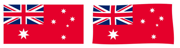 ilustrações, clipart, desenhos animados e ícones de variante de bandeira civil da comunidade da austrália (australian red ensign). versão simples e agitando ligeiramente. - bandeira union jack