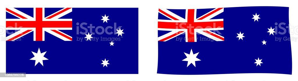 Bandeira da Commonwealth da Austrália. Versão simples e agitando ligeiramente. - ilustração de arte em vetor