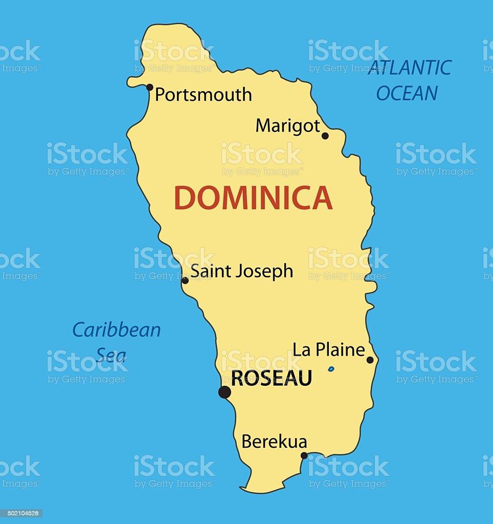 Commonwealth of Dominica - vector map vector art illustration