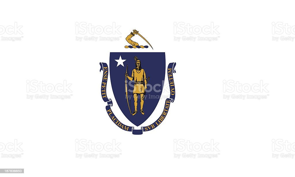 Commonwealth of Massachusetts Flag vector art illustration