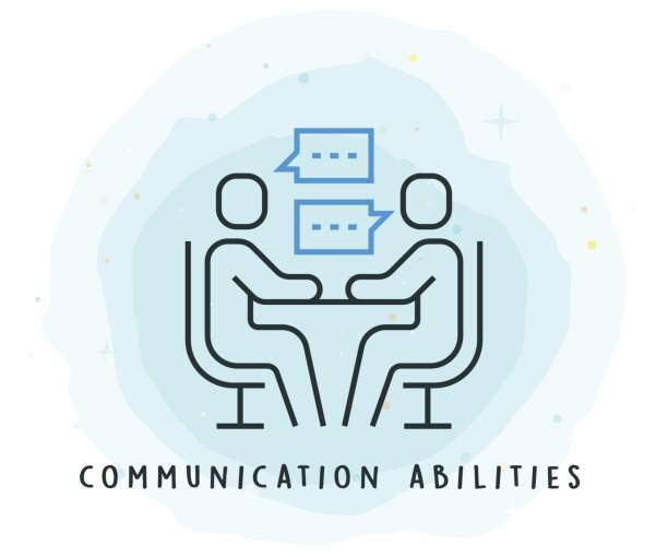 Communication Abilities Icon with Watercolor Patch Communication Abilities Icon with Watercolor Patch two people stock illustrations
